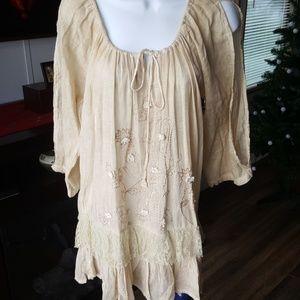 Embroidered open shoulder gauze Sacred Threads Top